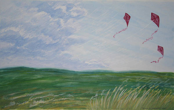 Kite Poster featuring the painting 3 Kites 2009 by Thomas Griffith