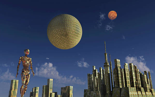 Horizontal Poster featuring the photograph A Type 2 Dyson Sphere Civilization by Mark Stevenson