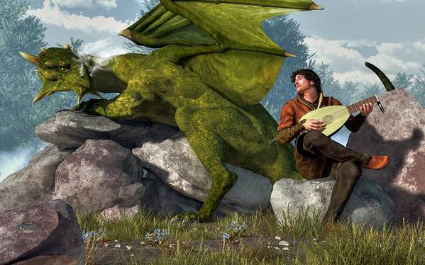 Bard Poster featuring the digital art Bard And Dragon by Daniel Eskridge