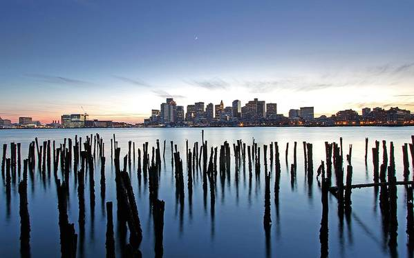 Boston Poster featuring the photograph Boston Harbor Skyline With Ica by Juergen Roth