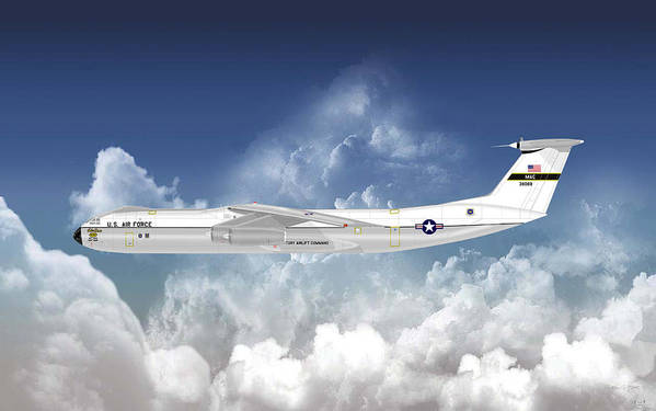 Lockheed Poster featuring the digital art C-141b Starlifter by Arthur Eggers