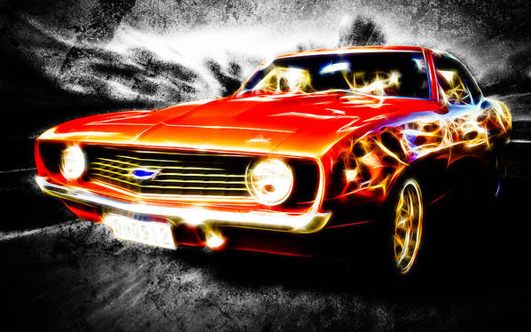 Red Camaro Poster featuring the photograph Camaro'd by Phil 'motography' Clark