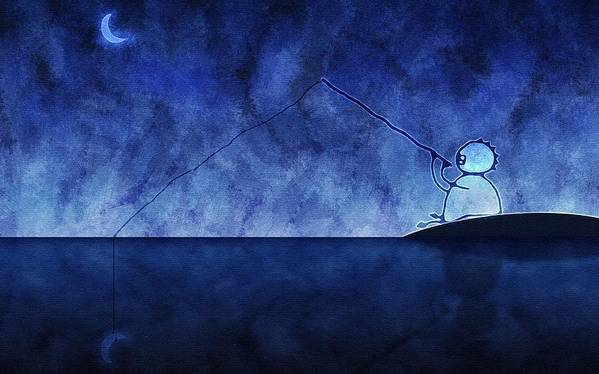 Fishing Poster featuring the photograph Catching The Moon Under Water by Gianfranco Weiss