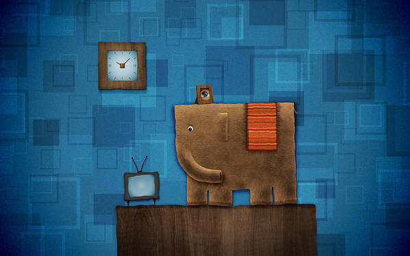 Abstract Poster featuring the drawing Elephant On The Wall by Gianfranco Weiss
