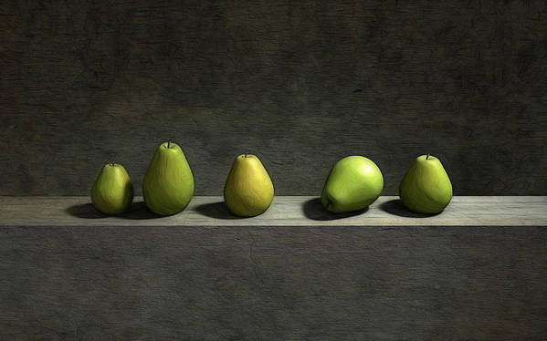 Green Poster featuring the digital art Five Pears by Cynthia Decker