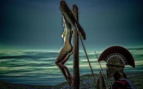 Crucifixion Poster featuring the digital art Greek Crucifixion Scene II by Ramon Martinez
