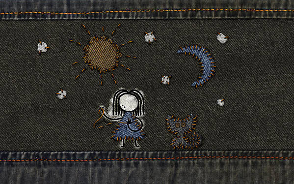 Abstract Poster featuring the drawing Jeans Stitches by Gianfranco Weiss