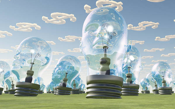 Idea Poster featuring the digital art Light Bulb Heads And Dollar Symbol Clouds by Bruce Rolff