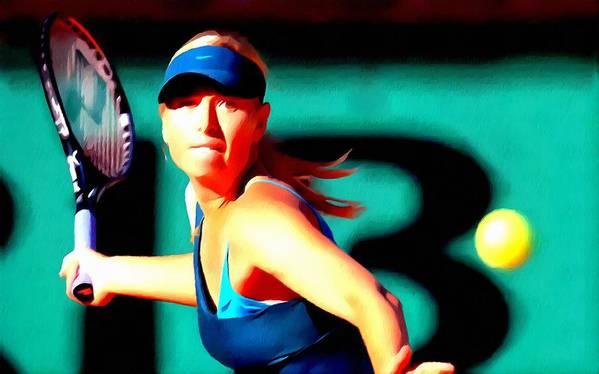 Maria Sharapova Tennis Poster featuring the painting Maria Sharapova Tennis by Lanjee Chee