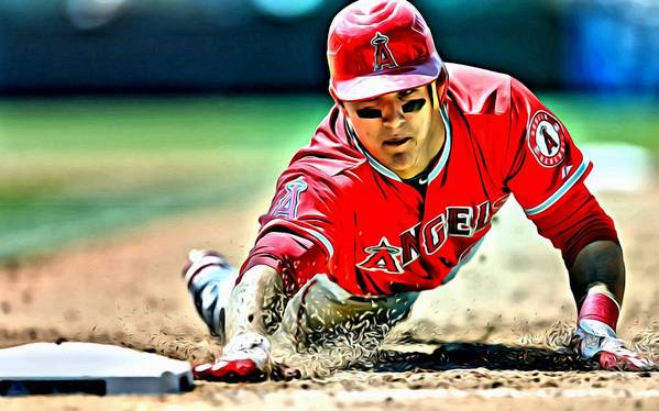 Mlb Poster featuring the painting Mike Trout Painting by Florian Rodarte