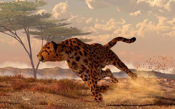 Cheetah Poster featuring the digital art Speeding Cheetah by Daniel Eskridge
