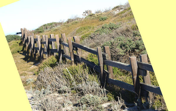 Split Rail Fence Poster featuring the digital art Split Rail Fence Yellow by Barbara Snyder