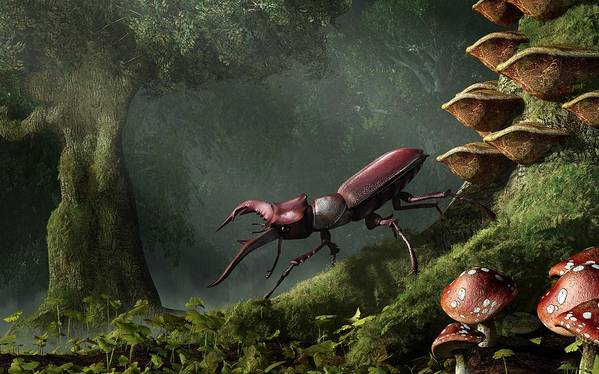 Stag Beetle Poster featuring the digital art Stag Beetle by Daniel Eskridge