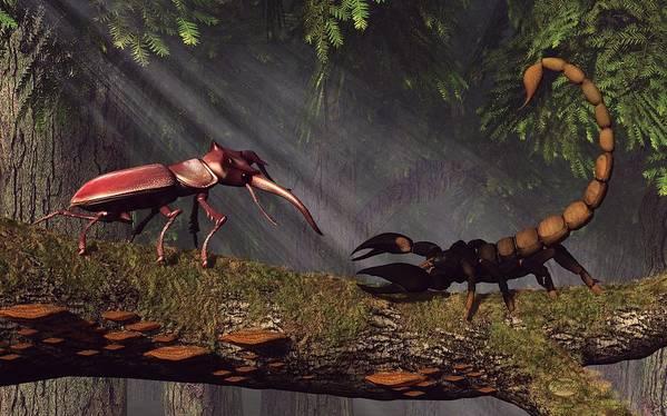 Stag Beetle Poster featuring the digital art Stag Beetle Versus Scorpion by Daniel Eskridge