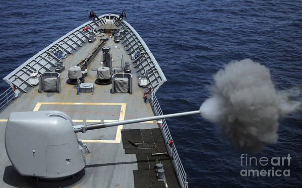 Horizontal Poster featuring the photograph Uss Philippine Sea Fires Its Mk 45 by Stocktrek Images