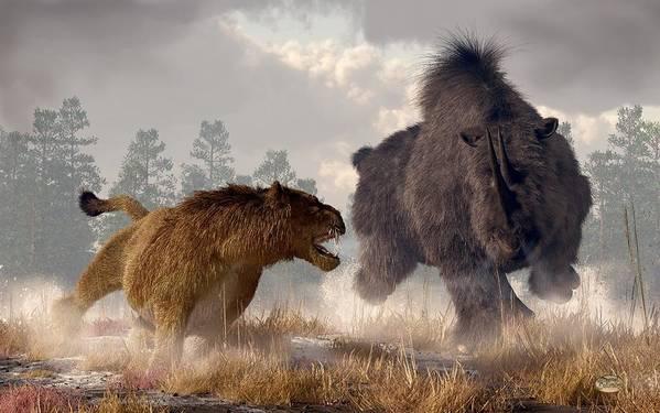 Woolly Rhino Poster featuring the digital art Woolly Rhino And Cave Lion by Daniel Eskridge