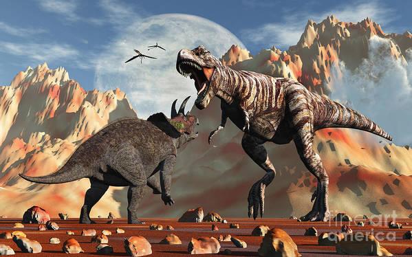 Horizontal Poster featuring the digital art Tyrannosaurus Rex And Triceratops Meet by Mark Stevenson
