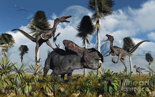 Digitally Generated Image Poster featuring the digital art A Pair Of Velociraptors Attack A Lone by Mark Stevenson
