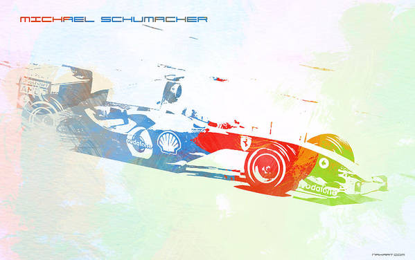 Michael Schumacher Poster featuring the painting Michael Schumacher by Naxart Studio