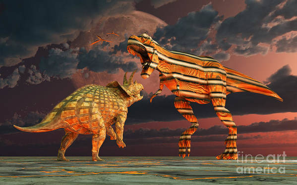 Horizontal Poster featuring the digital art Robotic T. Rex & Triceratops Battle by Mark Stevenson