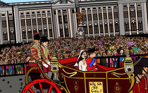 Royal Wedding Poster featuring the drawing The Royal Wedding by Karen Elzinga