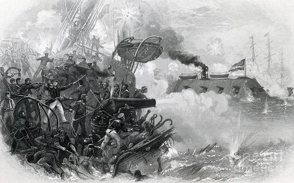 America Poster featuring the photograph The Sinking Of The Cumberland, 1862 by Photo Researchers