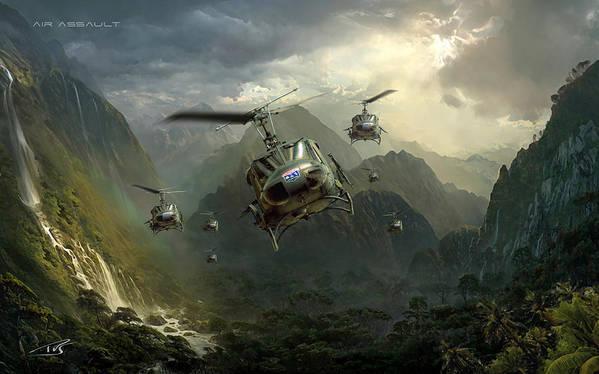 War Poster featuring the digital art Air Assault by Peter Van Stigt