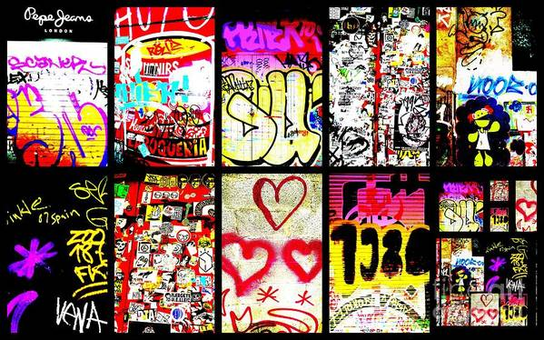 Barcelona Poster featuring the photograph Barcelona Graffiti Wall by Funkpix Photo Hunter