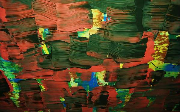 Abstract-intense Poster featuring the painting ..favella.-series.... by Adolfo hector Penas alvarado