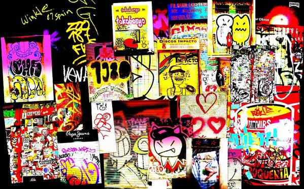 Graffiti Poster featuring the photograph Hola Barcelona by Funkpix Photo Hunter