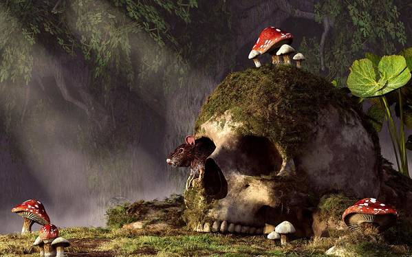 Mouse Poster featuring the digital art Mouse In A Skull by Daniel Eskridge