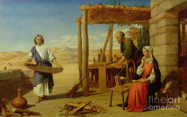 Pre-raphaelite Poster featuring the painting Our Saviour Subject To His Parents At Nazareth by John Rogers Herbert