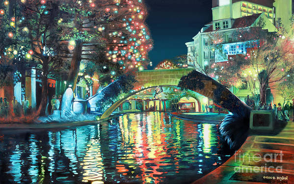 Landscape Poster featuring the painting Riverwalk by Baron Dixon