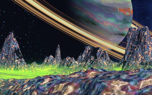 David Jackson Saturn View Alien Landscape Planets Scifi Poster featuring the digital art Saturn View by David Jackson