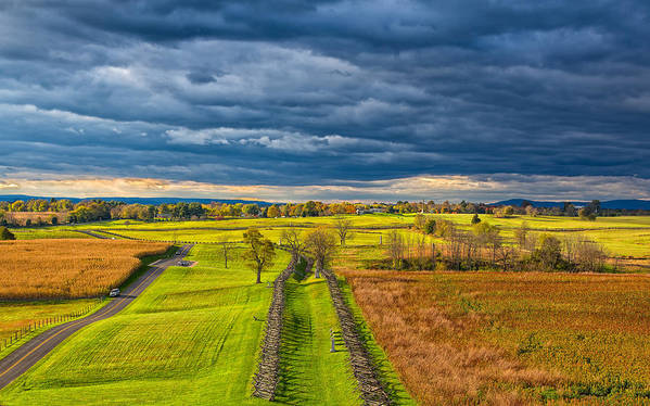 Sky Poster featuring the photograph The Antietam Battlefield by John M Bailey