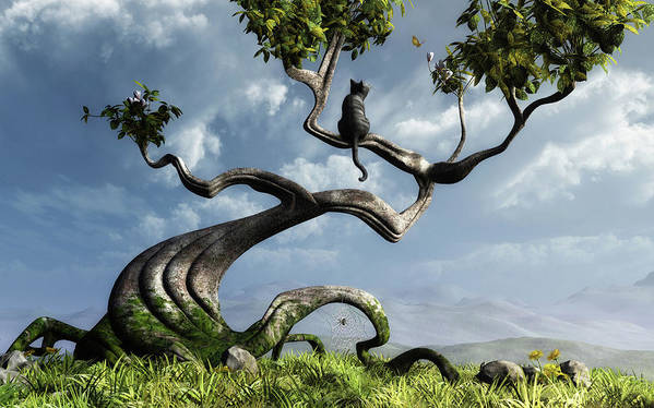Whimsical Poster featuring the digital art The Sitting Tree by Cynthia Decker