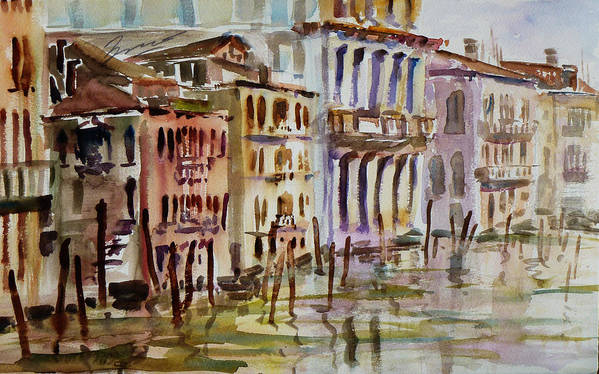 Watercolor Poster featuring the painting Venice Impression II by Xueling Zou
