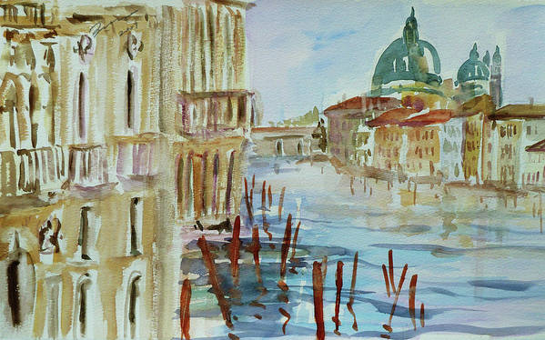 Venice Poster featuring the painting Venice Impression IIi by Xueling Zou