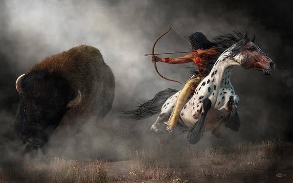 Buffalo Hunt Poster featuring the digital art Buffalo Hunt by Daniel Eskridge