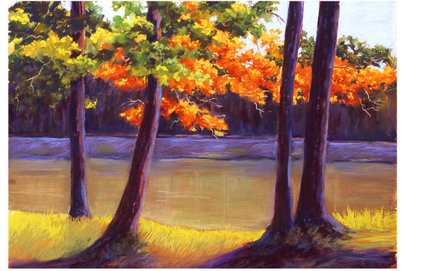 Landscape Poster featuring the painting Lake Trees by MaryAnn Stafford