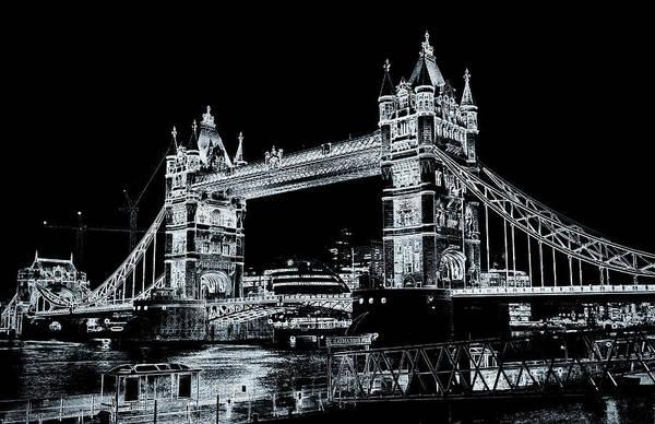 Bridge Poster featuring the digital art Tower Bridge Art by David Pyatt