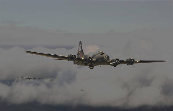Aircraft Poster featuring the digital art B17 Outbound - 'heavy Weather' by Pat Speirs