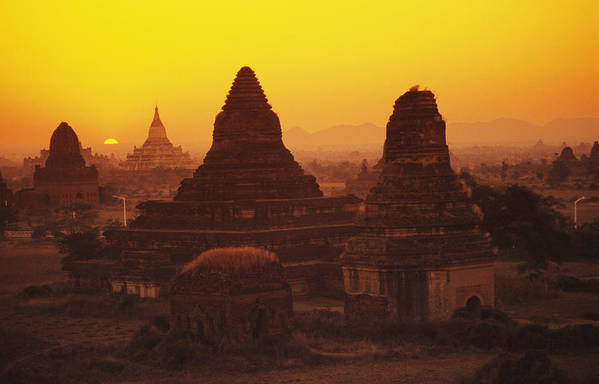 Horizon Poster featuring the photograph Burma Myanmar, Bagan, Temples At Sunset by Richard Maschmeyer