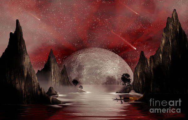Moon Poster featuring the digital art Crimson Night by Anthony Citro