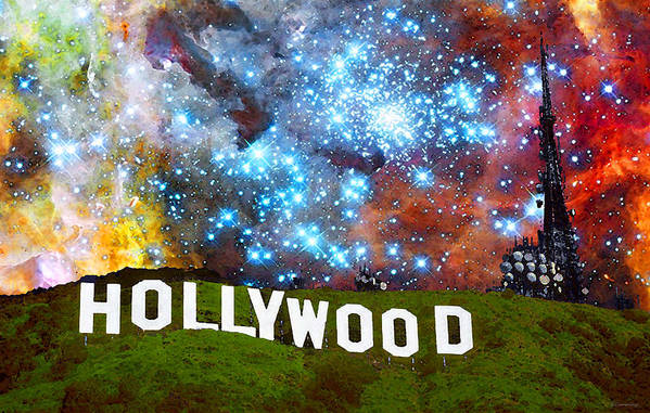 Hollywood Poster featuring the painting Hollywood 2 - Home Of The Stars By Sharon Cummings by Sharon Cummings