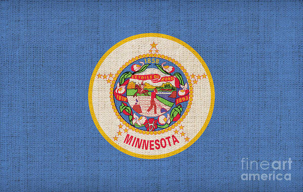 Minnesota Poster featuring the painting Minnesota State Flag by Pixel Chimp