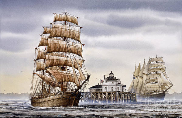 Tall Ship Print Poster featuring the painting Semi-ah-moo Lighthouse by James Williamson