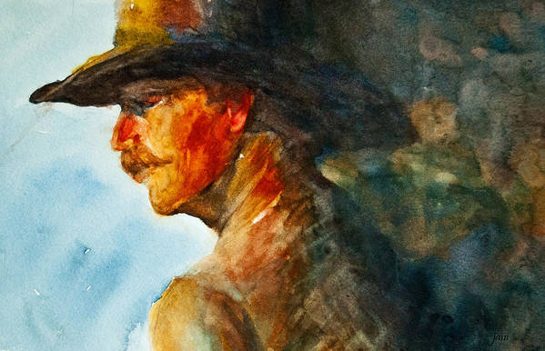 Cowboy Art Poster featuring the painting Weathered Cowboy by Jani Freimann