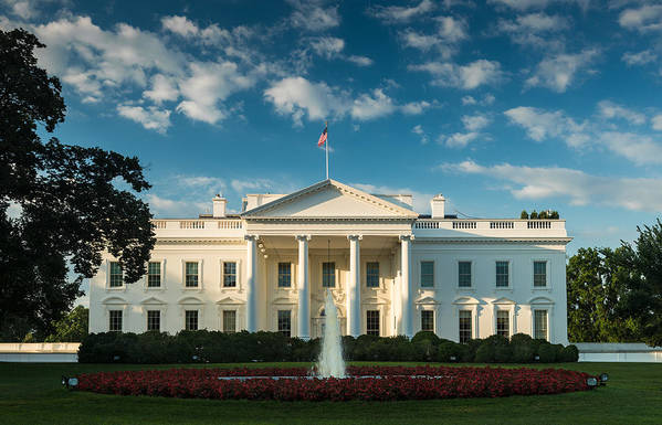 White Poster featuring the photograph White House Sunrise by Steve Gadomski