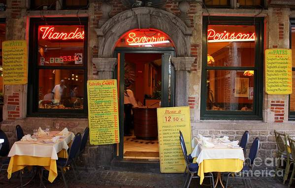 European Cafes Poster featuring the photograph Brussels - Restaurant Savarin by Carol Groenen